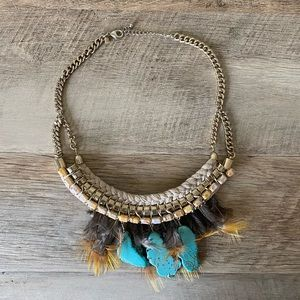Boho turquoise and feather necklace